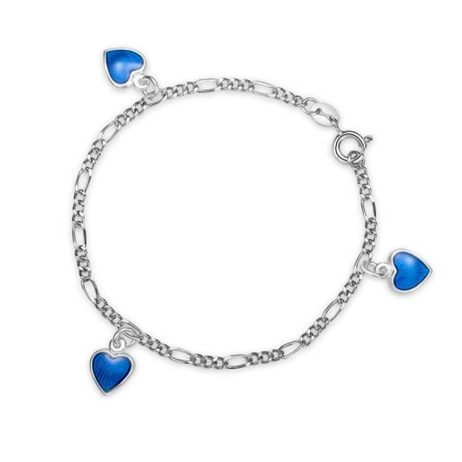 Bilde av Blå hjerte armband m/charms